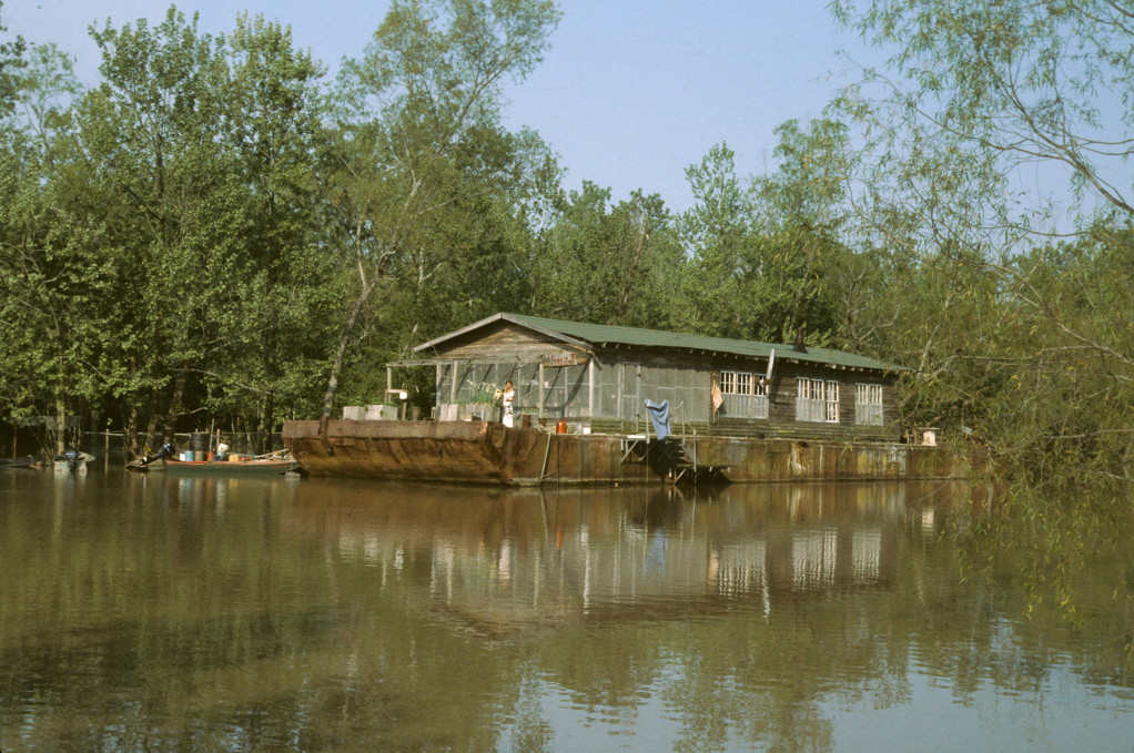 Calvin and Gwens house barge on Bloody Bayou Atchafalaya Basin, Louisiana