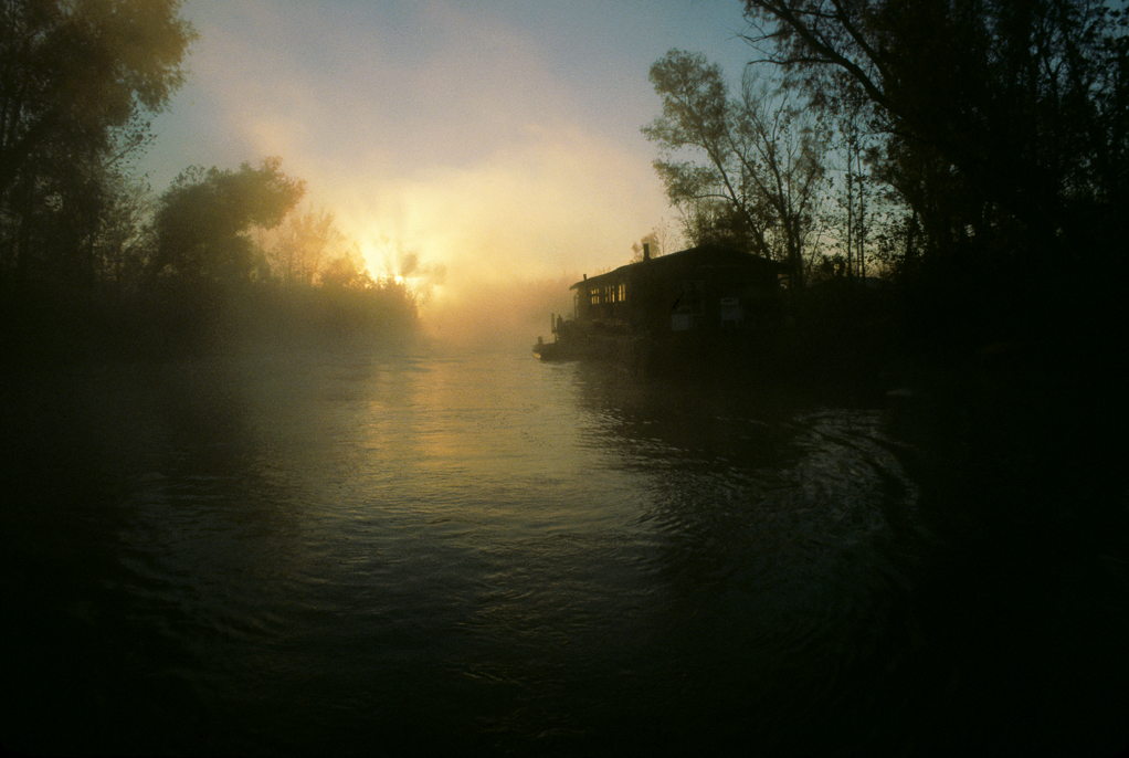 Calvin and Gwens houseboat at sunrise on Bloody Bayou Atchafalaya Basin; Louisiana